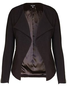 For contemporary looks that really hit the mark incorporate our Must Have Drape Jacket into your CC wardrobe. This collarless design features an open drape front, shoulder pads, full length sleeves with zip trim at cuff, welt pockets at hips with zip fast Plus Size Work, Plus Size Girls, Curvy Outfits, Plus Size Outfits, Plus Size Fashion For Women, Plus Fashion, City Chic Online, Curvy Girl Fashion, Business Attire