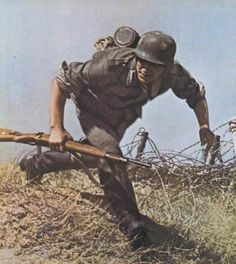 german army german soldier attacking fortified position (russia 1941)