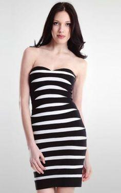 Herve Leger Black White Stripe Strapless Sweetheart Bandage Dress