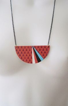 Free Shipping Geometric necklace made from vintage book covers