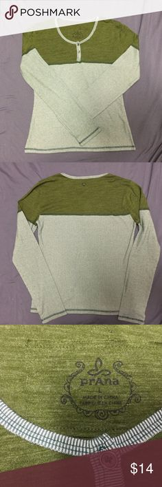 PrAna Olive Green Long Sleeve Henley Good worn condition. Some pilling. PrAna Tops Tees - Long Sleeve