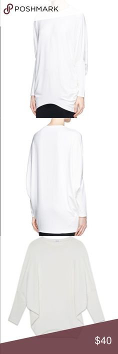 Helmut Lang Villous Oversized Pullover Large and loose-fitting Helmut Lang pullover sweatshirt. Lined in fleece, lightly draped. Size P, but will fit XS-S. Some pale brown spots on the front as shown in last photo, unsure what they're from or if they will come out. Sold as-is, priced accordingly. Helmut Lang Tops Sweatshirts & Hoodies