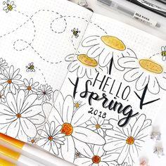 hello spring bullet journal spread