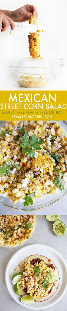 Mexican Street Corn Salad from Lexi's Ckeab Kitchen Mexican Food Recipes, Vegetarian Recipes, Cooking Recipes, Healthy Recipes, Vegetarian Soup, Pescatarian Recipes, Kitchen Recipes, Clean Recipes, Healthy Side Dishes