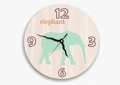 Back to school wall clock kid's children boy girl room decor nursery wall hanging elephant woodland woodgrain animals turquoise. $49.00, via Etsy.