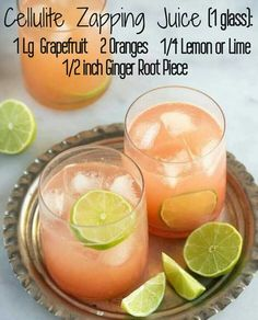 Want to get rid of that cellulite (lumpy fat deposits under the skin)? Grapefruit juice is one of the best fat-burning foods and a cellulite remover JUICE RECIPE (makes one portion): - 1 large grapefruit - 2 oranges - lemon - inch ginger root piece Detox Drinks, Fun Drinks, Yummy Drinks, Healthy Drinks, Healthy Recipes, Lime Drinks, Beverages, Delicious Recipes, Detox Juices