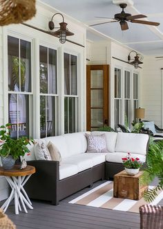 I Don't Care What You Say. I NEED MY CEILING FANS! porch with fan and barn lighting