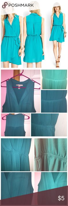 """Forever 21 Sleeveless Woven Shirtdress Worn a few times. May have some slight color fading. As seen in the last photo does show signs of wear on the armpit area. Has a collared supplies neckline. Self-tie elasticized waist. Beautiful shade of teal. Dress is unlined. 100% polyester. Approx 35"""" in length. Stock photo from Forever 21. All items under $10 prices are firm unless bundled. ❌NO TRADES❌ Forever 21 Dresses"""