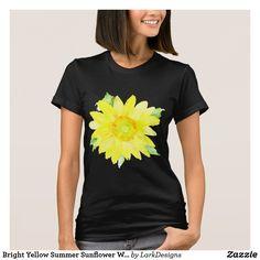 Bright Yellow Summer Sunflower Watercolor T-Shirt