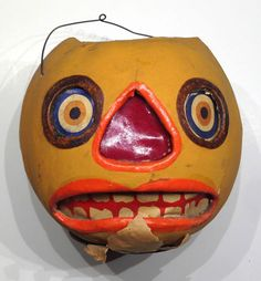 Early-Rare-Composition-Jack-o-Lantern-Vintage-German-Lots-of-Expression