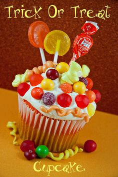 Trick or Treat Candy Cupcake (note there's no recipe link)