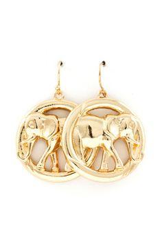 Golden Elephant Earrings on Emma Stine Limited