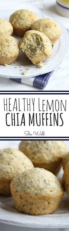 Healthy Lemon Chia Muffins! Super easy to make and perfect for vegans and vegetarians. Click to read now or pin for later!
