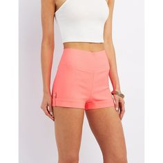 Charlotte Russe High-Rise Millennium Shorts ($18) ❤ liked on Polyvore featuring shorts, coral, pleated shorts, high rise shorts, high-rise shorts, highwaist shorts and shiny shorts