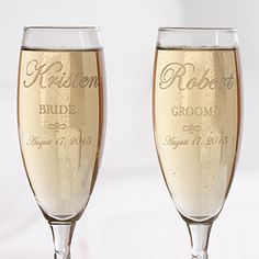 Perfect wedding day accessories - Engraved Crystal Champagne Flutes - Bride and Groom Design! wedding glass for guests;wedding glass for bride and groom;wedding glass for bridal party Stemless Champagne Flutes, Personalized Champagne Flutes, Wedding Champagne Flutes, Crystal Champagne, Wedding Glasses, Personalized Wedding Gifts, Champagne Glasses, Toasting Flutes, Champagne Gifts