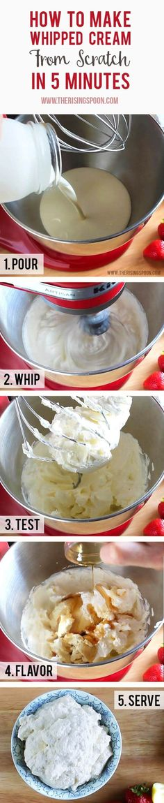 Ditch the over-processed ingredients and additives in store bought whipped topping (cool whip) and make your own homemade whipped cream from scratch in five minutes with only heavy whipping cream, sweetener, and a little elbow grease. Also includes info on stabilizing and freezing whipped cream + a dairy-free coconut milk alternative.  | real food recipe | DIY | Desserts |