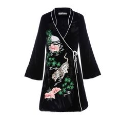 Mini Wrap Dress With Kimono Sleeve. Meet Iris our all-new mini wrap-around dress. With kimono style sleeves Oriental neckline and enchanting Tiger Moon embroidery she is the pinnacle of Shanghai chic. Part of our exclusive AW17 collection this little lady is as sleek and stylish as they come and shes the perfect accomplice for big city lights living.