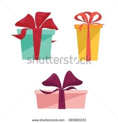 Set of three different colorful isolated present gift boxes - flat style vector illustration