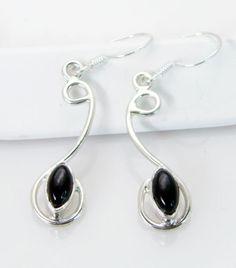 #Black Onyx Jewelry 925 Sterling #Silver Spring Hoop #Earrings L 1 2in Sebon 0614 | eBay