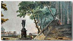 ROBERT, HUBERT (1733-1808) - Terrasse d'un Palais à Rome, detail. (Palais des Beaux-Arts, Lille, France)
