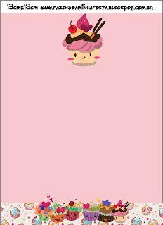 Cupcakes Fofinhos – Kit Completo com molduras para convites, rótulos para guloseimas, lembrancinhas e imagens! |Fazendo a Nossa Festa Party Sweets, Princess Peach, Awesome, Character, Sweet Like Candy, Cakes, Diy Home, Softies, Invitations