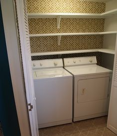 Small laundry space--lots of shelving. My laundry area needs these shelves !!!