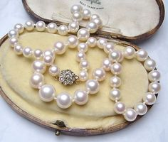 FABULOUS PEARL NECKLACE DIAMOND CLUSTER 14K GOLD CLASP | eBay