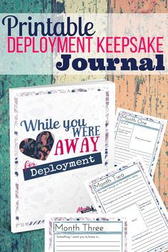 A customizable and printable deployment keepsake journal that is designed with t. - A customizable and printable deployment keepsake journal that is designed with thoughtful writing p - Deployment Countdown, Deployment Party, Deployment Care Packages, Military Deployment, Military Couples, Military Love, Military Families, Army Family, Family Life