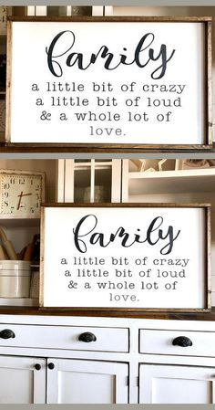Perfect!  My house and family are crazy and oh so loud all the time... but there is so much love!  Family sign, Farmhouse Wood Sign, Farmhouse decor, Hand-Painted Sign - Gallery Wall - Living room wall decor, Rustic sign, Rustic decor, home decor #ad