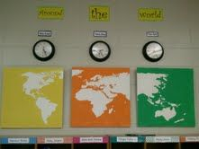 Ceiling tiles- a very under-appreciated art canvas!  I painted the world map on these tiles.  They give the wall an artsy feel and ties in my Around the World theme nicely.