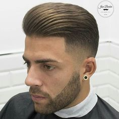 FETISH BARBER Mens Hairstyles With Beard, Slick Hairstyles, Haircuts For Men, Men's Haircuts, Modern Quiff, Modern Pompadour, Fade Haircut, Haircut Men, Brylcreem