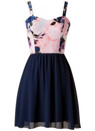 Blue Floral Chiffon Dress