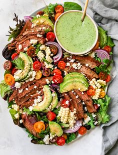 Grilled Steak Salad with sweet corn, tomatoes, avocado, red onion, and a creamy cilantro lime dressing. You will love this fresh and simple summer salad! Summer Salad Recipes, Summer Salads, Big Salads, Meal Salads, Grilled Steak Salad, Clean Eating Plans, Main Dish Salads, Easy Weeknight Meals, Easy Meals