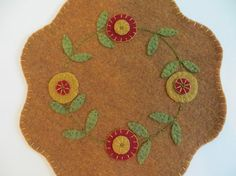 Felt Penny Rug with Flowers Penny Mat  Felt Candle Mat by FolkHome