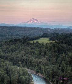 Mount Hood and the Sandy River Valley from Jonsrud Viewpoint in Sandy, Oregon at sunset photo by Pat Rose Photography in Portland Oregon.