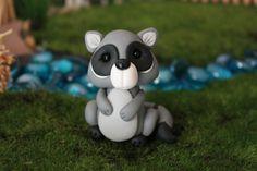 Polymer Clay Raccoon - Miniature Raccoon - Mini Clay Raccoon - Fairy Garden Accessory - Terrarium Accessory –  Sculpture – Garden Decoration