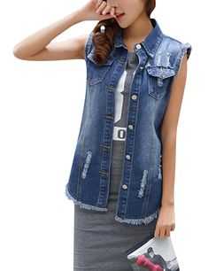 Uaneo Women's Retro Sleeveless Lapel Ripped Button Down Mid Long Denim Jean Vest Blue Vests, Jean Vest, Denim Jeans, Button Downs, Buttons, Retro, Jackets, Fashion, Jean Jacket Vest