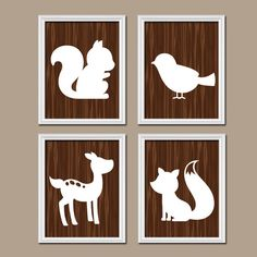 Woodland Forest Animals Deer Fox Bird Squirrel Wood Grain Pattern Set of 4 Prints WALL Decor ART NURSERY Picture Bedroom Bathroom Boy Girl