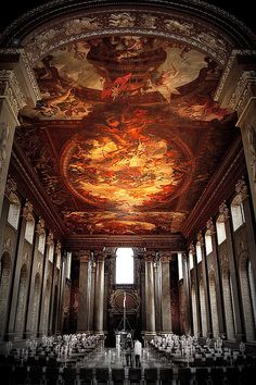 Painted ceiling, Old Royal Naval College, Greenwich, England