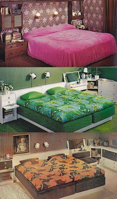 1976 - Ugly bedrooms come in your choice of colors! #LivingInThe1960s