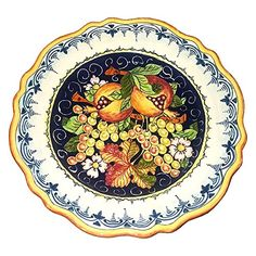 Traditional CERAMICHE D'ARTE PARRINI - Italian Ceramic Art Pottery Serving Plate Dish Food Bowl Hand Painted Made in ITALY Tuscan