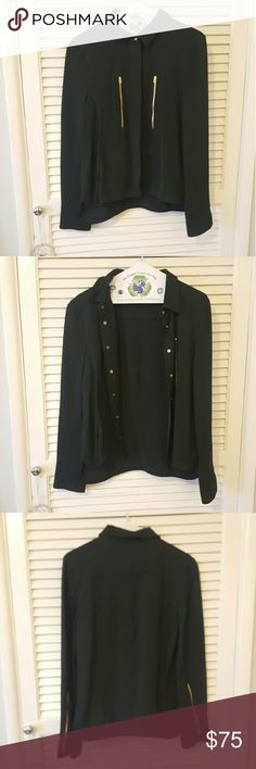 ZARA woman dark green blouse BRAND NEW~ ZARA woman dark green blouse. Has a touch of gold here and there. It is very beautiful and looks very professional! ???? Zara Tops Blouses
