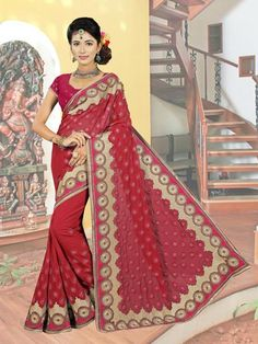 Buy Maroon Beige Georgette Party Wear Sarees With Resham,Zari,Stone Works. Order Party Wear Sarees Online. We offer latest exclusive saris for women to look more glamorous.