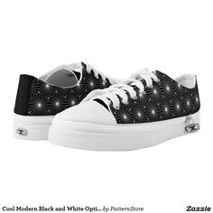 Cool Modern Black and White Optical Sparkle Printed Shoes Printed Shoes, Illusion, Athletic Shoes, High Top Sneakers, Sparkle, Vans, Black And White, Cool Stuff, Modern