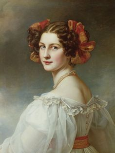 Joseph Karl Stieler Auguste Hilber, geb.Strobl. 1827. From the beauty gallery of King Louis I - Canvas Pictures on stretcher canvas pictures