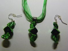 Dangle Green Candy Earrings & Necklace Set   94 by ritascraftsandmore on Etsy