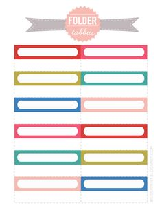 Basic colored printable file folder labels. 2 sets to choose from ...