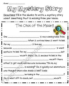 "Freebie: Use this ""Fill in the Blanks"" writing template to guide your student in writing a mystery story about an object that is missing. Students can rewrite the story and add an illustrate to create a finished writing product."