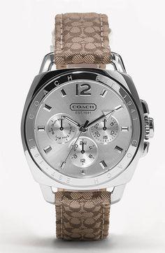 COACH 'Boyfriend' Crystal Dial & Fabric Strap Watch | Nordstrom