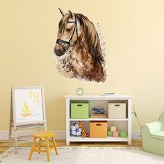 WANDTATTOO Pferdekopf mit Namen Reiten Kinderzimmer Rose Mädchen Wandsticker